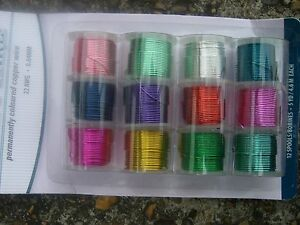 Artistic copper Wire 12 mini reels Assorted colours pack . Choice of diameters