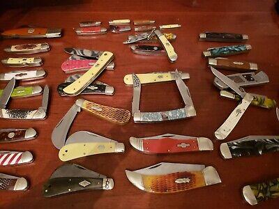 38 Vintage ROUGH RIDER POCKET KNIFE LOT CANOE MUSKRAT LOCK BACK HUNTER NO CASE