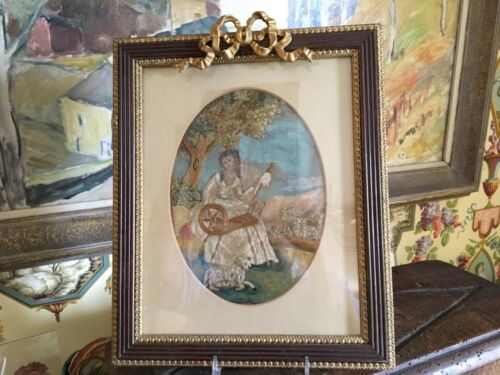 English Early 1800s Silkwork Picture Watercolor Detailing Decorative Frame