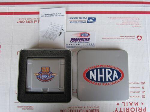 New Vintage NHRA Travel Alarm Clock & Calculator 50 years 1951-2001 Drag Racing