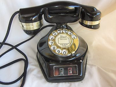 Automatic Electric 2-Line AA-24/26 Black & Brass Telephone