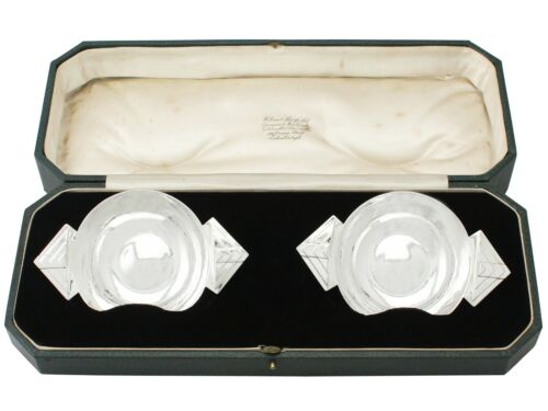 Antique Art Deco Style Pair Of Sterling Silver Bon Bon Dishes By R E Stone