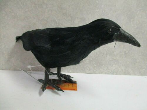 """Halloween Artificial feathered Bird Black Crow w/ wire stand ~ 7.4"""""""