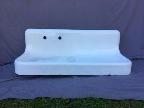 "Antique High Back Farm House Cast Iron Porcelain Sink 52"" Old Standard 583-20E"