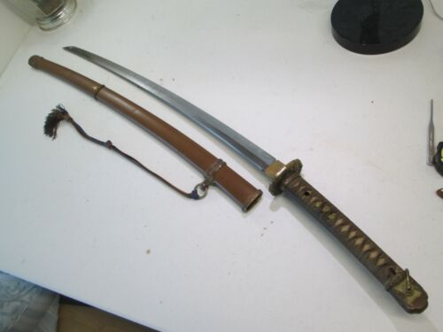 WW2 JAPANESE OFFICERS SWORD WITH SCABBARD& TASSLE SIGNED YOSHIHARU GENDITO