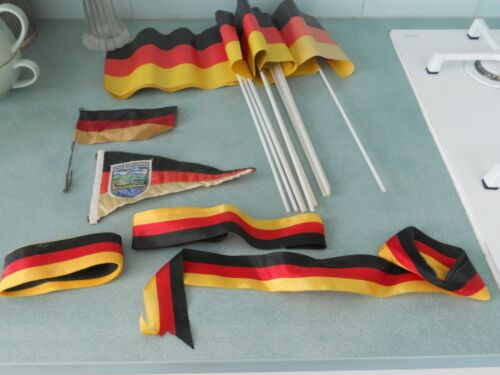 A COLLECTION OF 16 VINTAGE GERMAN / SWISS FLAGS AND 4 RIBBONS
