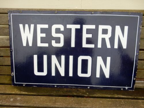 "WESTERN UNION PORCELAIN SIGN 30"" x 18"" Original Old Double Sided"