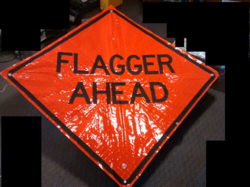 """Dicke 48"""" Fold and Roll Road Construction Sign Orange """"FLAGGER AHEAD"""" 3000XP-48"""