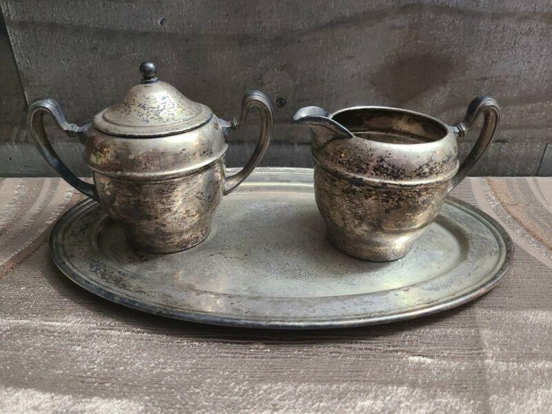 Vintage World Silver on Copper Decorative Tray, Sugar Bowl and Creamer
