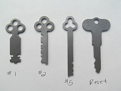 National Cash Register Keys  1, 2, 5, Reset Key. Fits 300 & 700 Class NCR