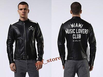 NWT Diesel L-FYFE Mens MOTORCYCLE BIKER Black Leather Jacket L LARGE $898