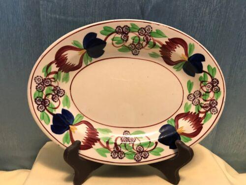 Antique Petrus Regout Maastricht Holland Spongeware Floral platter  1880-1890