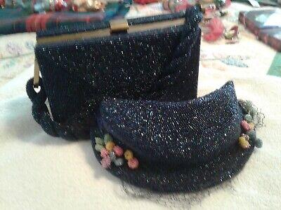 1940s Handbags and Purses History Vtg 1940s Du Bonnette Midnight Blue AmethystGlass Hand Beaded Purse + Hat $95.00 AT vintagedancer.com