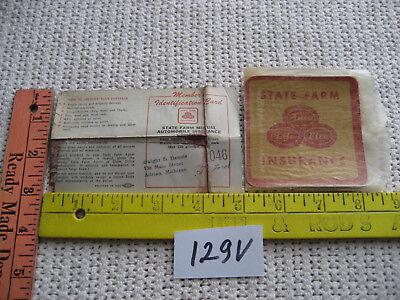 State Farm Insurance Members Identification Card 1955   Sticker Old Adrian 129V