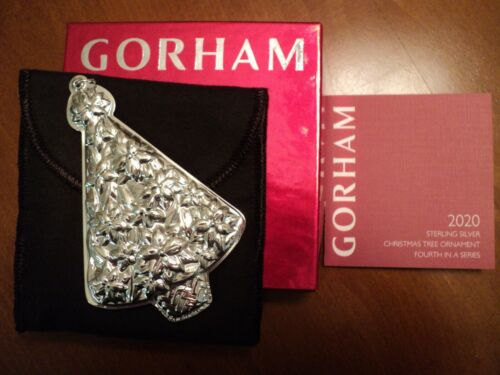 """2020 GORHAM Sterling Silver """"Christmas Tree"""" Ornament - 4th Edition"""