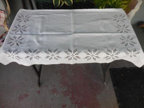 Vintage Norwegian Scandinavian Hardanger Embroidery Dresser Scarf Runner As Foun