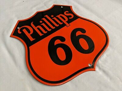 OLD VINTAGE 1950'S PHILLIPS 66 GASOLINE PORCELAIN ENAMEL GAS PUMP STATION SIGN