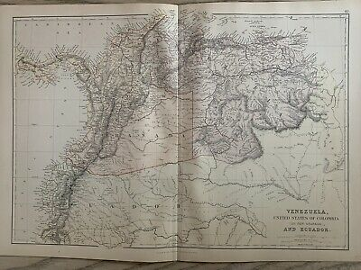 1882 VENEZUELA COLOMBIA ANTIQUE COLOUR MAP BY W.G. BLACKIE 138 YEARS OLD