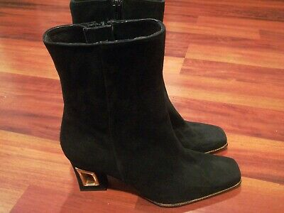 Timothy Hitsman Spain Unique Design Womens Leather Ankle Boots Black Size 9