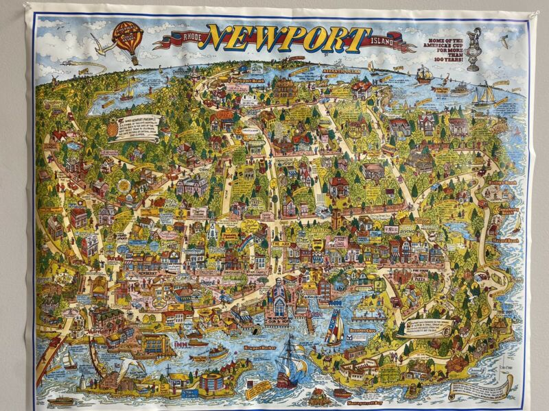 Whimsical Map of Newport Rhode Island by John Roman Souvenir Map Cartoon