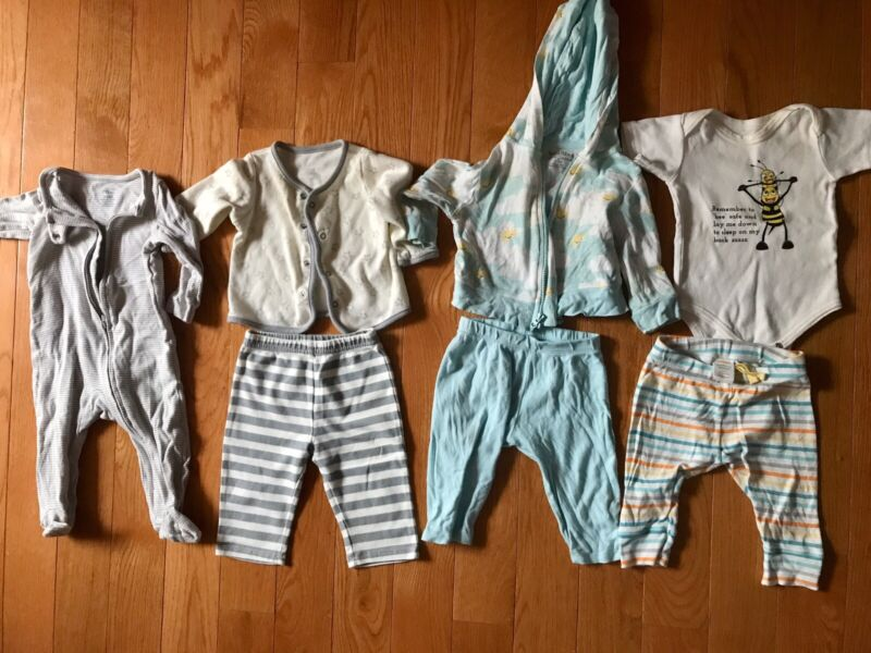 Used Newborn To 3- 6 Months Gender Neutral Baby Clothes Lot, 7 Items