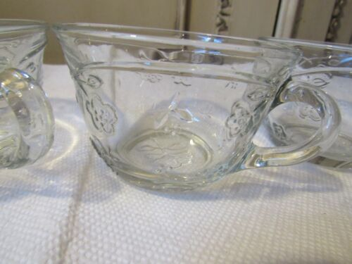 RETIRED  4  Punch Cups Savannah by Anchor Hocking USA Glass Vintage  7 ounces