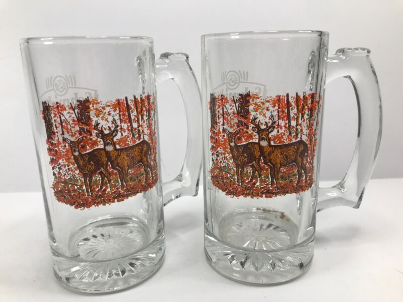 """Lot Of 2 Schmidt Beer Collectors Series III Buck & Doe Beer Mug Stein 5.5"""" Glass"""