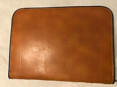 Vintage Leather Zippered Portfolio Thin Briefcase Document Carrier 16 X 12