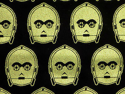 """STAR WARS C3PO ROBOT METALLIC CAMELOT FABRICS QUILTING FABRIC  16"""" REMNANT SCRAP for sale  Hudson"""