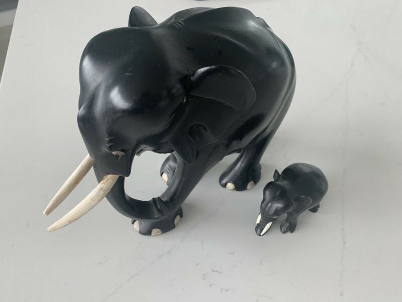 Stunning Pair Antique Ebony Bone Hand Carved Elephant Antiques Gumtree Australia Brisbane North East Hamilton 1253298951