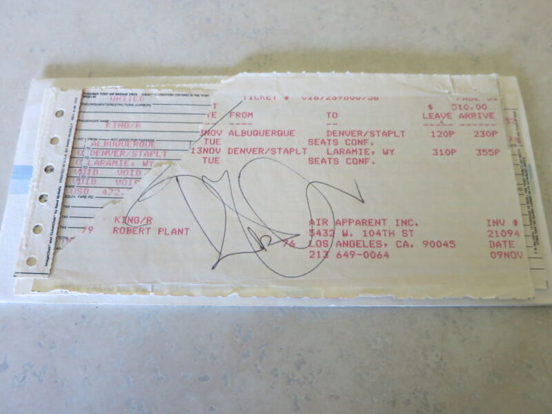 Robert Plant Signed Airline Ticket + Roger Epperson Coa Rare! Led Zeppelin