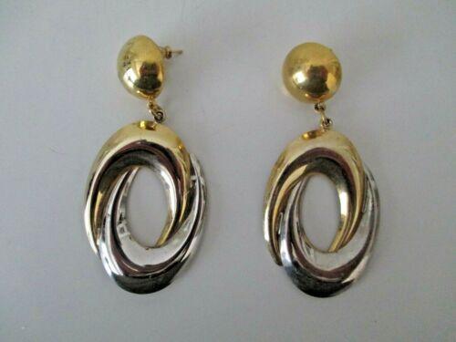 "Large Silver & Gold Tone Hoop Statement Post Earrings 3"" Vjintage  AZ19"
