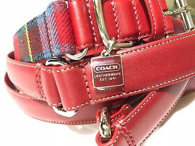 NEW COACH SET RED BLUE PLAID LARGE SQUARE CHARM DOG COLLAR LEASH L