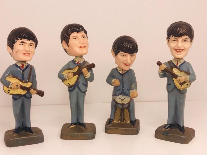 """Vintage 1960s The Beatles Bobblehead Nodder Cake Topper 4"""""""