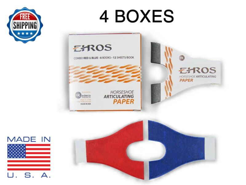 HORSESHOE ARTICULATING PAPER RED/BLUE COMBO 24 Books/12 Sheets each = 288 Sheets