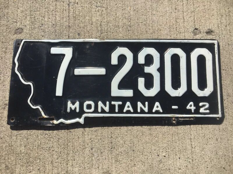 1942 Montana License Plate 7 - 2300 Vintage Number Tag PRISON MADE