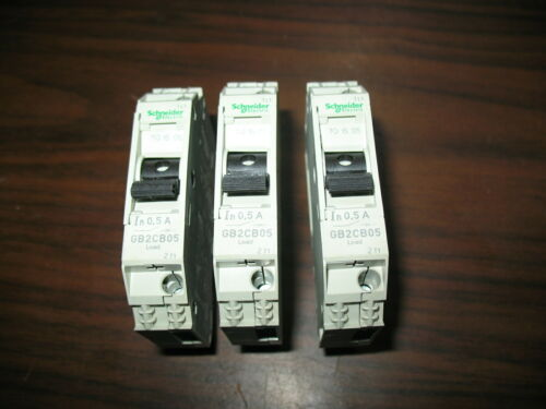 New Lot of 3 Schneider Electric GB2CB05 Circuit Breakers (0.5 Amp, 240V)