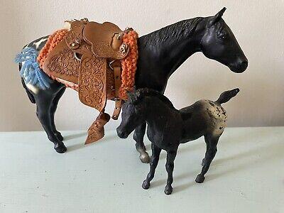 VTG Breyer Horses Mare & Foal Black White Spots Saddle