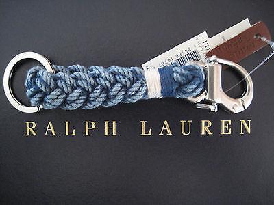 NEW RALPH LAUREN POLO Indigo Nautical FOB Shackle Braided Key Chain Key Ring