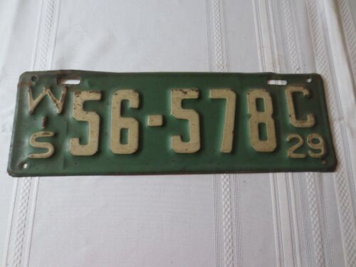 1929 WISCONSIN  LICENSE PLATE 56-578