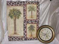 Set of 3 Signed Abstract Art Landscape oil painted Canvas Wall w/ wall clock