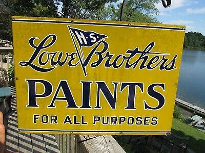 VINTAGE ORIGINAL 1900 - 1920's LOWE BROTHERS PAINTS PORCELAIN SIGN ING RICH SIGN
