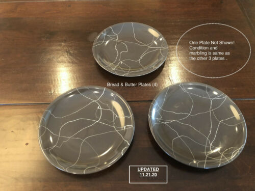 Carrara Modern China by Iroquois, 4 Bread & Butter Plates, Gray