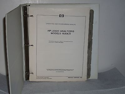 Hp Agilent Model 1630ad Logic Analyzer Operating And Programming Manual