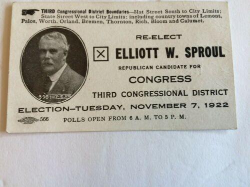 Vintage 1920s Election Elliiott W. Sproul Congress 3rd  Illinois Political card