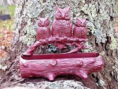 Owl Match Holder / Letter Holder for Wall, Hard Plastic (3) Owls on Log Vintage