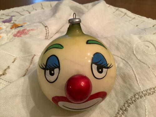 Vintage De Carlini Italian Blown Glass Happy Clown Ornament