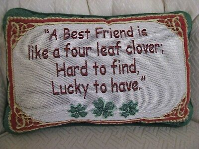 Tapestry Throw Pillow Irish Theme Best Friend Like 4 Leaf Clover Celtic Knots Best Friend Throw Pillow