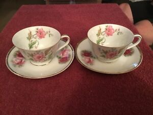 Assorted China Tea Cups And Saucers