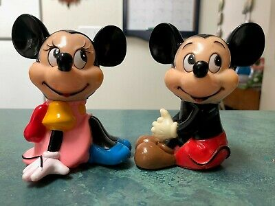 Vintage Walt Disney Productions Mickey and Minnie Mouse Banks 4.5 inch